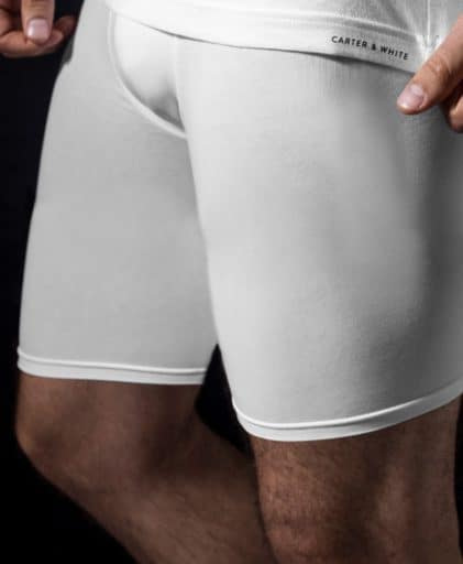 side view of the white Carter and White Men's cotton stretch trunks